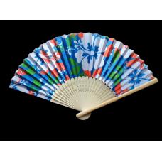 Retro Hibiscus Bamboo Fan