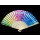 Rainbow Plumeria Bamboo Fan
