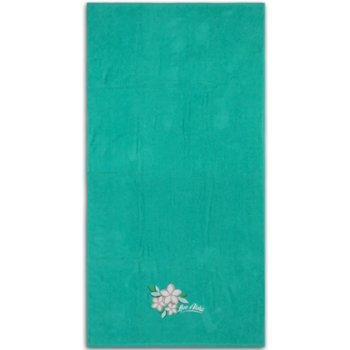 Large Hawaii Beach Towel Green Plumeria