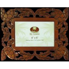 """Honu Carved Wood Frame 4"""" x 6"""""""
