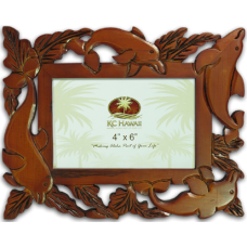 "Dolphins Craved Wood Frame 4"" x 6"""