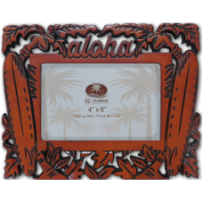 "Aloha Surfboards Craved Wood Frame 4"" x 6"""