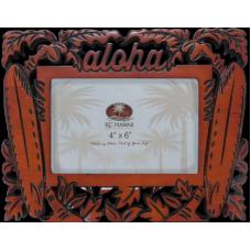 "Aloha Surfboards Carved Wood Frame 4"" x 6"""