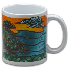 Honu Wood Cut Coffee Mug