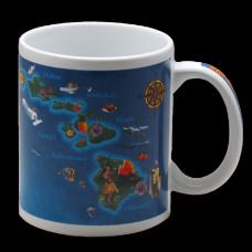 Hawaiian Isles Map Ceramic Mug