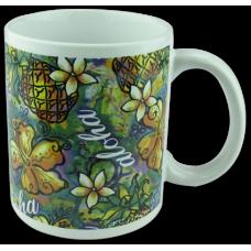 Pineapple Hibiscus Ceramic Mug
