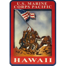 Marine Corps Hawaii Wood Magnet