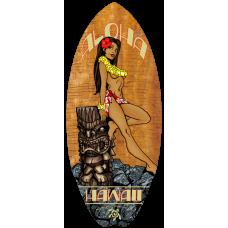 Tiki Hula Girl Mini Surfboard