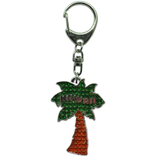 Palm Tree Rhinestone Keychain