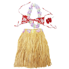 Adult Natural Hula Skirt Set