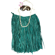 Adult Green Coconut Hula Skirt Set