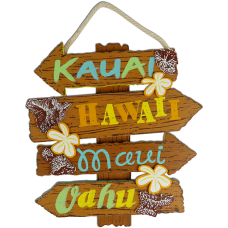 Hawaiian Islands Wood Sign