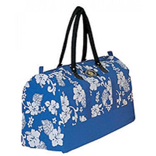 blue floral duffle bag